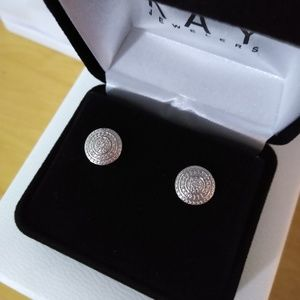 Sterling silver diamond stud earrings